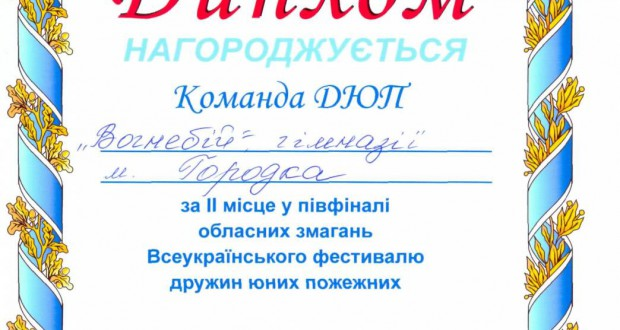 72526910 620x330 - Диплом за ІІ місце в обланих змаганнях Всеукраїнського фестивалю дружин юних пожежників
